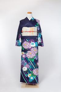 祇园本店-清新访问服-紫/菊,材质:化纤, 尺寸:L