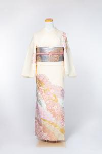 祇园本店-清新访问服-クリーム/雲紋と花,材质:化纤, 尺寸:LL