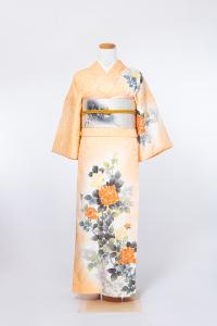 祇园本店-清新访问服-薄オレンジ/バラ,材质:化纤, 尺寸:M