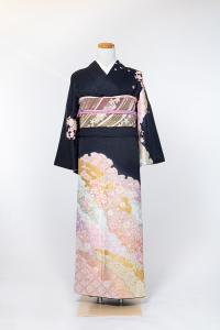 祇园本店-清新访问服-黒/雲紋と花,材质:化纤, 尺寸:LL