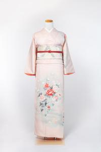祇园本店-清新访问服-薄ピンク/牡丹と菊 ,材质:化纤, 尺寸:L